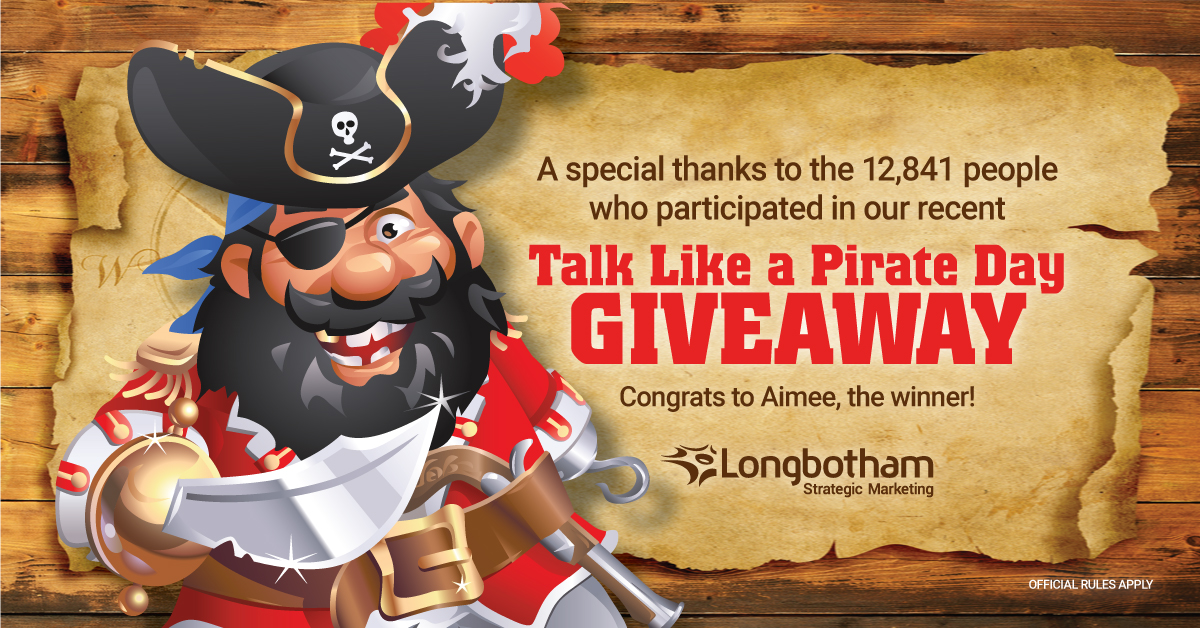 Congratulations to the Winner of our Talk Like a Pirate Day Giveaway